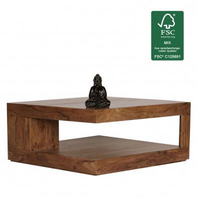 Table basse marron moderne en bois massif L. 90 x P. 90 x H. 40 cm  collection Brataas