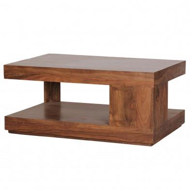Table basse marron moderne en bois massif Sheesham L. 90 x P. 60 x H. 40 cm  collection Brataas