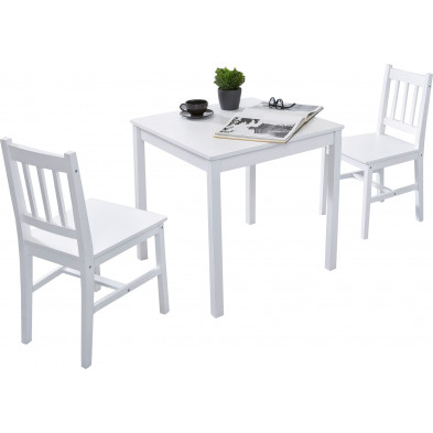 Ensembles tables & chaises blanc contemporain en bois massif pin L. 70 x P. 70 x H. 73 cm collection Seed