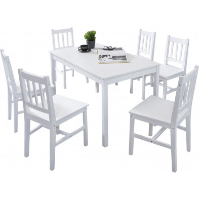 Ensembles tables & chaises blanc contemporain en bois massif pin L. 120 x P. 70 x H. 73 cm collection Seed