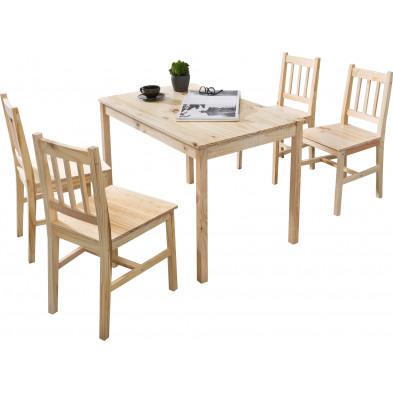 Ensembles tables & 6 chaises beige contemporain en bois massif pin L. 108 x P. 65 x H. 73 cm collection Seed