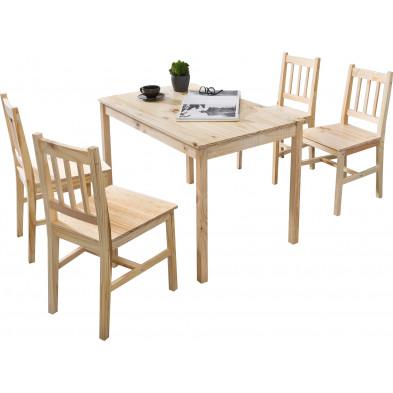 Ensembles tables & 6 chaises beige contemporain en bois massif pin L. 108 x P. 65 x H. 73 cm collection Seed