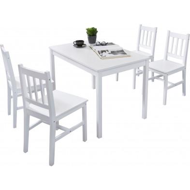 Ensembles tables & 4 chaises blanc contemporain en bois massif pin L. 108 x P. 65 x H. 73 cm collection Seed
