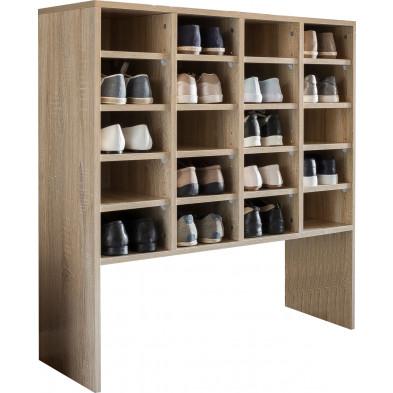 Meubles chaussures beige moderne en panneaux de particules mélaminés de haute qualité L. 91.5 x P. 33 x H. 99 cm collection Bearriver