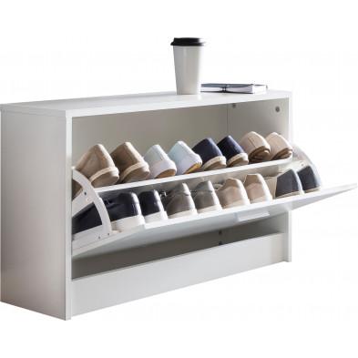 Meubles chaussures blanc moderne en panneaux de particules mélaminés de haute qualité L. 80 x P. 24 x H. 47 cm collection Enlarge