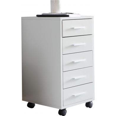 Caisson bureau blanc design en panneaux de particules mélaminés de haute qualité L. 33 x P. 38 x H. 63 cm collection Abstracted