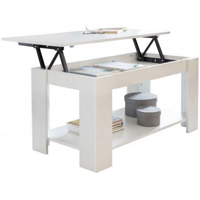 Table basse blanc design en acier L. 100 x P. 53 x H. 51 - 64 cm collection Tollenaar