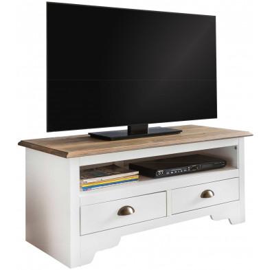 Meuble tv blanc contemporain en acier L. 100 x P. 45 x H. 45 cm collection Beland