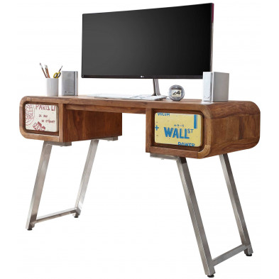Bureau contemporain marron vintage en acier L. 120 x P. 50 x H. 78 cm collection Erect