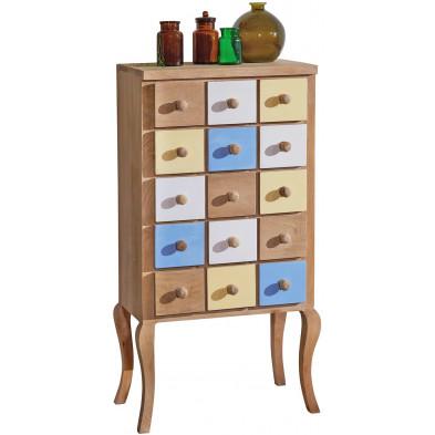 Commode marron vintage en bois massif manguier L. 50 x P. 30 x H. 100 cm collection Difficult