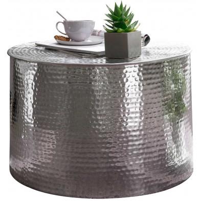 Table basse argenté design en aluminium L. 61 x P. 61 x H. 40.5 cm collection Marple