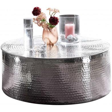 Table basse argenté design en aluminium L. 75 x P. 75 x H. 31 cm collection Marple