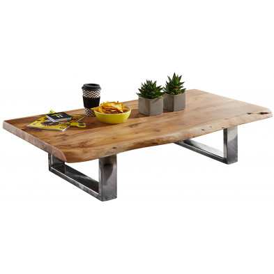 Table basse design marron rustique en acier L. 115 x P. 58 x H. 25 cm collection Princeville