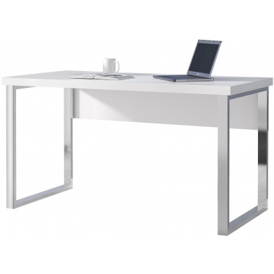 Bureau informatique blanc design en acier L. 140 x P. 70 x H. 77 cm collection Manselllacy