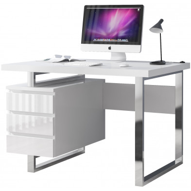 Bureau informatique blanc design en acier L. 115 x P. 60 x H. 76 cm collection Philippine
