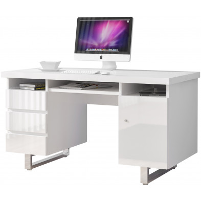 Bureau informatique blanc design en acier chromé L. 140 x P. 60 x H. 76 cm collection Zeveneken