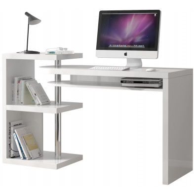 Bureau informatique blanc design en acier L. 145 x P. 50 x H. 94 cm collection Yoxall