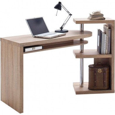 Bureau informatique marron contemporain en acier L. 145 x P. 50 x H. 94 cm collection Northbay