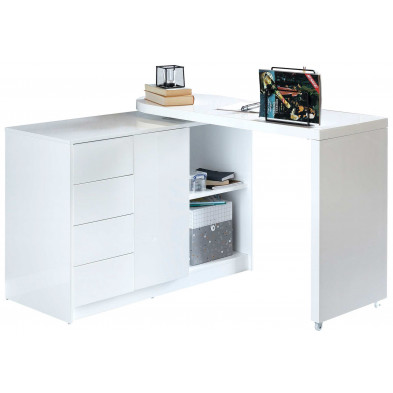 Bureau informatique blanc design en bois L. 166 x P. 42 x H. 77 cm collection Coyne