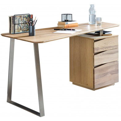 Bureau informatique marron contemporain en acier L. 150 x P. 67 x H. 77 cm collection Yalding