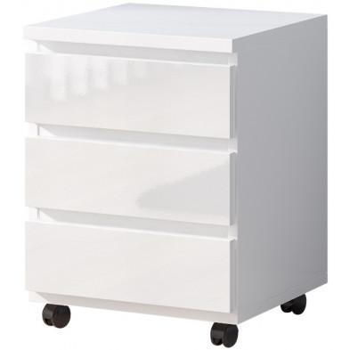 Caisson bureau blanc design en panneaux de particules mélaminés de haute qualité L. 42 x P. 42 x H. 59 cm collection Albunuelas