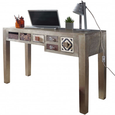Bureau informatique gris vintage en bois massif manguier L. 120 x P. 48 x H. 77 cm collection Ylse