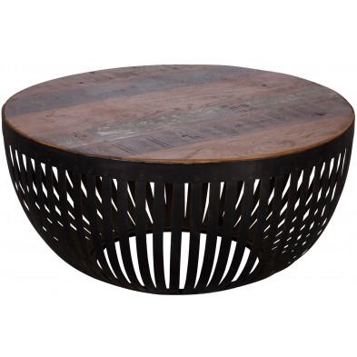 Table basse design marron vintage en acier L. 70 x P. 70 x H. 33 cm collection Laurel