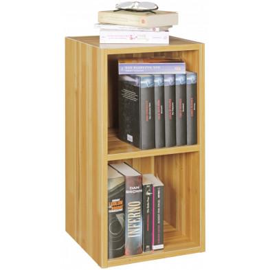 Bibliothèque adolescent marron contemporain en panneaux de particules mélaminés de haute qualité L. 30 x P. 30 x H. 60 cm collection Croteau