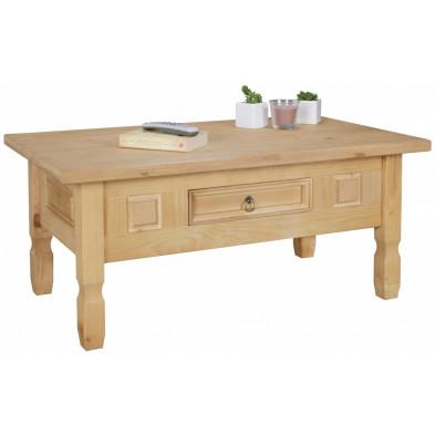 Table basse en bois marron contemporain en bois massif pin L. 100 x P. 60 x H. 45 cm collection Chief