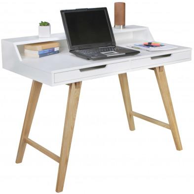 Bureau design beige scandinave en bois massif L. 110 x P. 60 x H. 85 cm collection Reuse