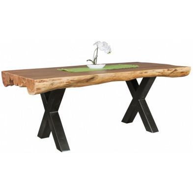 Table de salle à manger rustique en bois massif  marron et acier  L. 200 x P. 100 x H. 77 cm collection Jornt