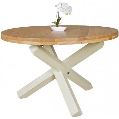 Table de salle à manger rustique en bois massif acacia blanc L. 120 x P. 69 x H. 75 cm collection Craig