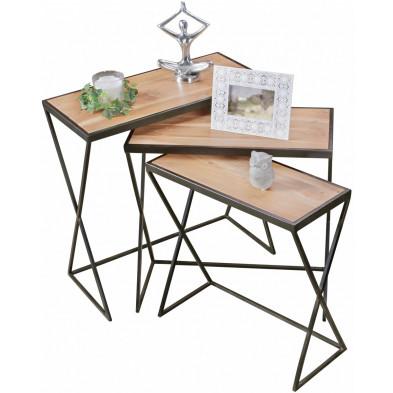 Table d'appoint marron contemporain en acier L. 65 x P. 32 x H. 65 cm collection Wols
