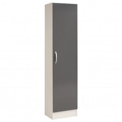 Meuble de rangement moderne gris en panneaux de particules mélaminés de haute qualité L. 50 x P. 36 x H. 209 cm Collection Pabendale
