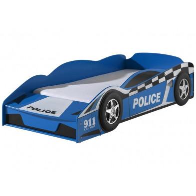 Lit voiture bleu design en bois mdf L. 173 x P. 75 x H. 41 cm collection Huon