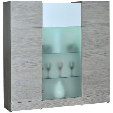 Argentier - vaisselier - vitrine blanc design en panneaux de particules de haute qualité L. 151 x P. 40 x H. 151,5 cm collection Humphries