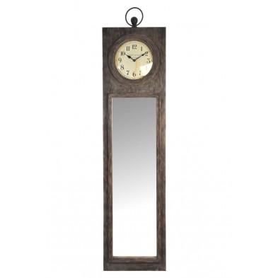 Miroir rectangle avec horloge marron en bois massif collection Auther