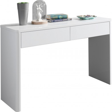 Bureau blanc design en bois mdf 120 cm  L. 120 x P. 40 x H. 75 cm collection Shun