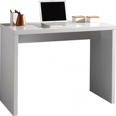 Bureau informatique blanc design en bois mdf L. 100 x P. 50 x H. 75 cm collection Dillan