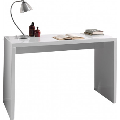 Bureau blanc design en bois mdf L. 120 x P. 50 x H. 75 cm collection Boubu