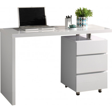 Bureau  blanc design en bois mdf L. 120 x P. 50 x H. 75 cm collection Matz