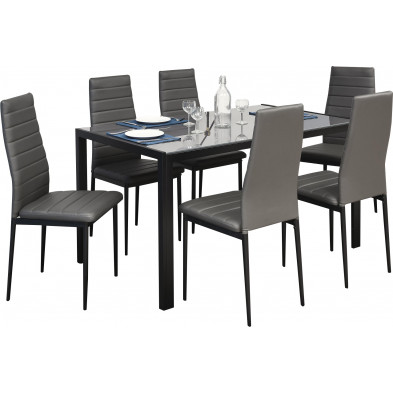 Ensemble table et chaises gris design en acier collection Gideon