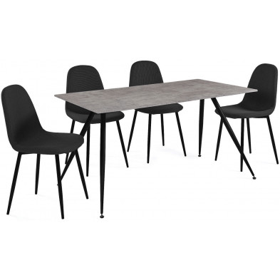 Ensembles table & chaises gris design en acier  L. 140-42 x P. 80-51 x H. 75-88 cm collection Forston