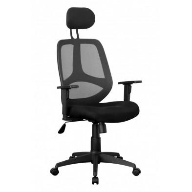 Chaise et fauteuil de bureau noir design en tissu H.113-127 x L.61 x P.57 cm collection Niek