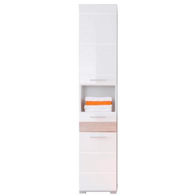 Colonne de rangement pour salle de bain design  coloris blanc et chêne San Remo L. 37 x P. 31 x H. 182 cm collection Martham