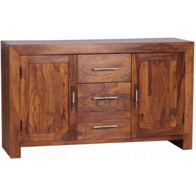Buffet - bahut - enfilade en bois massif marron contemporain en bois de palissandre massif L. 119 x P. 40 x H. 70 cm collection Fluttering