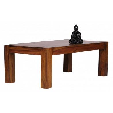 Table basse en bois marron contemporain en bois massif L. 110 x P. 60 x H. 40 cm collection Fluttering