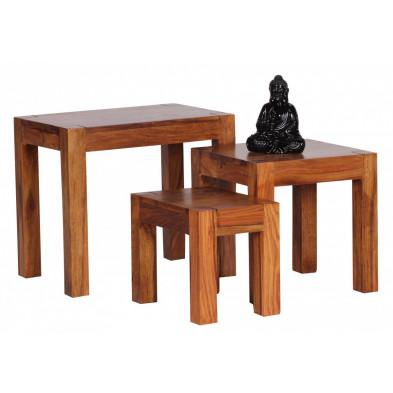 Lot de 3 Table d'appoint marron contemporain en bois massif L. 45 x P. 35 x H. 50 cm collection Fluttering