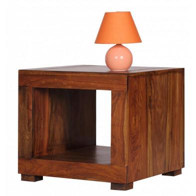 Chevet - table de nuit marron contemporain en bois massif L. 50 x P. 50 x H. 45 cm collection Fluttering