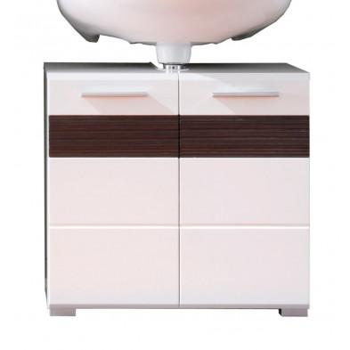 Meuble sous-vasque 2 portes coloris pin canyon blanc et chêne Melinga gris L. 60 x P. 34 x H. 56 cm collection Martham